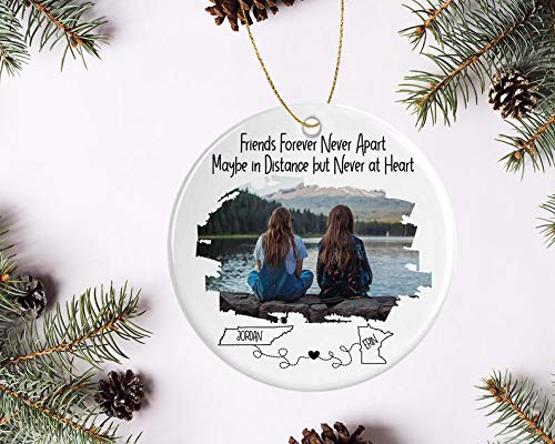 Decorations Best Friend Photo Ornament - Perfect for Long Distance Friendship - Personalized with States and Names Unique Gift for Friend Decorative Wall Art for Christmas and Holidays