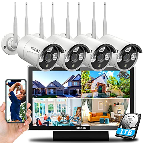 Dual Antennas for WiFi EnhancedWireless Home Security Camera Systems Outdoor With 10inch Screen Monitor,Wireless Complete Video Surveillance Camera System with Hard Drive,4pcs Wireless Cameras
