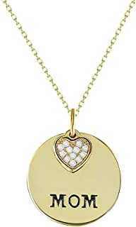 MOM Words Engraved 14K Gold Plated Heart Medallion Pendent Necklace 5A Cubic Zirconia Inlaid Gift Box Packaged