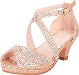Cambridge Select Girls' Peep Toe Crisscross Strappy Crystal Rhinestone Low Heel Sandal (Toddler/Little Kid/Big Kid),9 M US Toddler,Rose Gold Glitter
