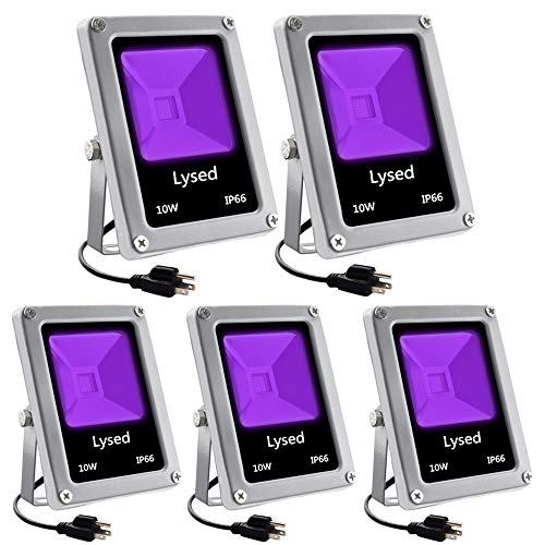 Lysed 5 Pack 10W LED Black Lights, Blacklight Flood Light with Plug ,Outdoor IP66 Waterproof, Blacklight for Dance Party, Glow in The Dark, Stage Lighting, Body Paint,Fluorescent Poster, Neon Glow