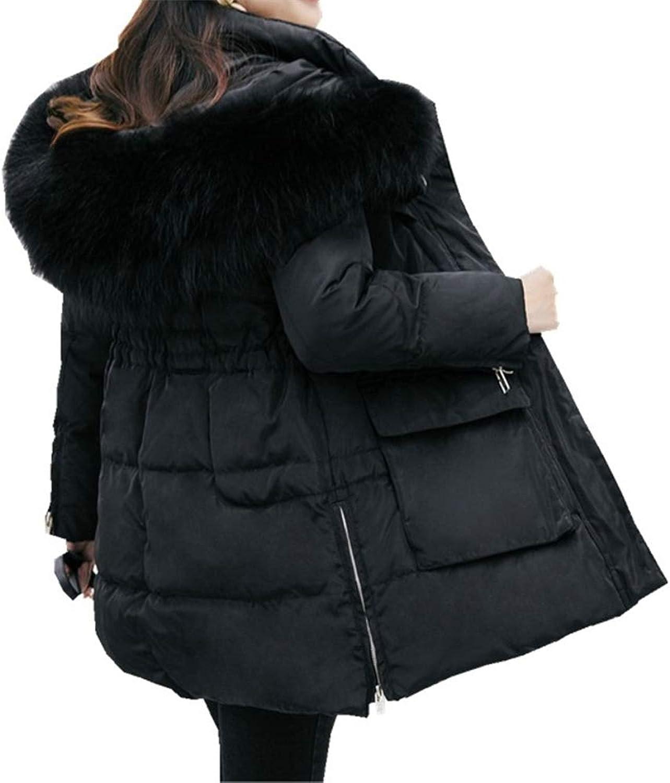 LQYRF Winter Ladies Slim Hooded Big Fur Collar Was Thin And Long Down Jacket