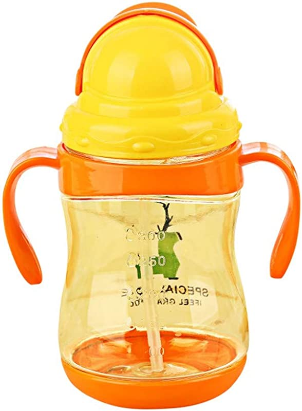 KTSWP Infant Baby Cartoon Deer Sippy Cups Kids Training Drinking Bottles Children Learn Drinking With Double Handles Straw 300ml
