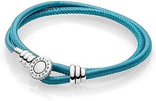 Pandora Women Leather Wrap Bracelet, 41 Cm - 597194Cso-D3 - Turquoise
