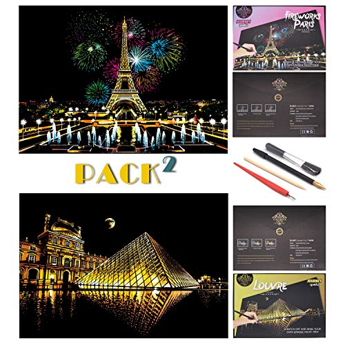 SiYear Scratch Painting Rainbow Paper Sketch Pads, City Series Night View DIY Art Craft Creative Gift, Scratchboard para Adultos y niños, con 4 Herramientas (16 X 11.2 Pulgadas)