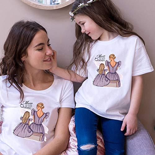 DRTWE Mamá Hija Camisetas Set Moda Vestido Púrpura Chica Imprimió Camiseta De...