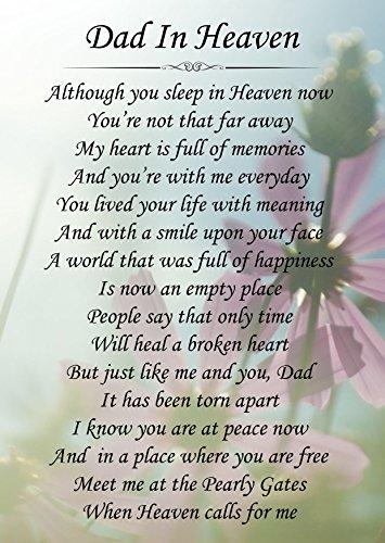 Dad In Heaven Memorial Graveside Poem Keepsake Card Includes Free Ground...