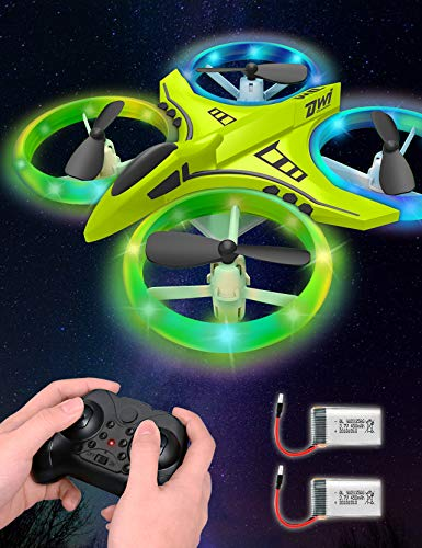 Dwi Dowellin Mini Drone for Kids Crash Proof LED Night Lights One Key Take Off Landing Flips RC Remote Control Small Flying Toys Drones for Beginners Boys and Girls Adults Nano Quadcopter, Green