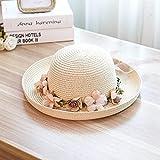NJJX Verano Casual Mujer Señoras De ala Ancha Flores Sombrero De Playa Sombrero DePaja para El Sol Elegante Floppy Bohemia Cap para Mujeres Y Niñas Beige
