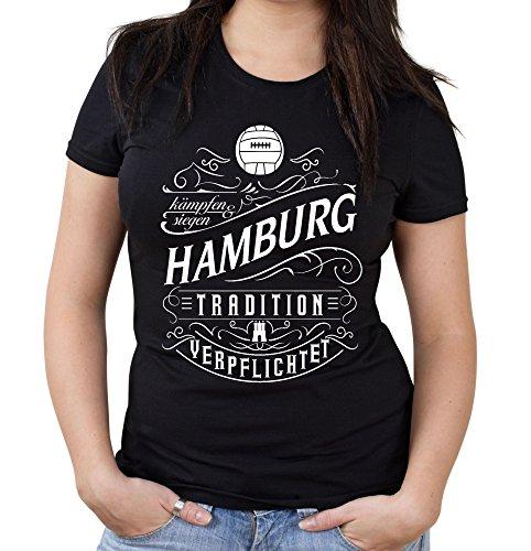 uglyshirt87 Mein Leben Hamburg Girlie Shirt | Freizeit | Hobby | Sport | Sprüche | Fussball | Stadt | Frauen | Damen | Fan | M1 Front (L)