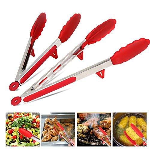 küchenzange Grillzange Edelstahl Silikon / Klein Groß Lang / Grillzange Rot / Servierzange / Zangen für Süßigkeiten Essen Salat BBQ / Multitool Universalzange / 2er Set