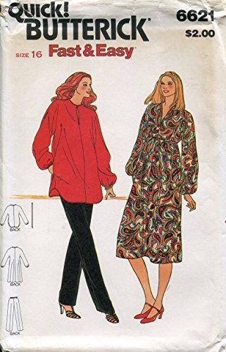 Butterick Pattern 6621 Misses' Maternity Dress, Tunic and Pants, Vintage Size 16 (Bust 38)