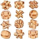 Chonor 12 Piezas Cubo Rompecabezas 3D de Madera del Enigma Educativo Juego Puzle - Clásica de Cerradura de Brain Teaser Puzzle IQ Juguetes para Niños y Adultos - Idea de Regalo y Decoración