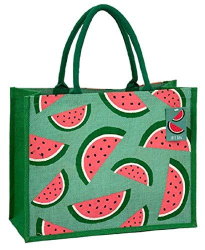 Umweltfreundliche Jute-Einkaufstasche mit Zwickel (Wassermelonen)