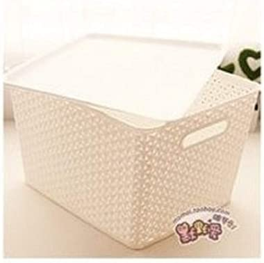 HopesunRegalo Plastic Tapered Hollow Basket Woven Storage Box/Organizer with Lid and Holding Space (36 X 30 X 22 cm, White)