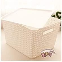 Hopesun Plastic Tapered Hollow Basket Woven Storage Box/Organizer with Lid and Holding Space (36 X 30 X 22 cm, White)