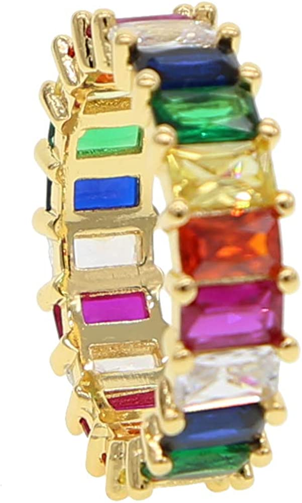 ATJMLADYJEWELRY Gold Filled Fashion Jewelry Rainbow Square Baguette Cz Engagement Ring for Women Colorful Cubic Zirconia Cz Eternity Band Ring