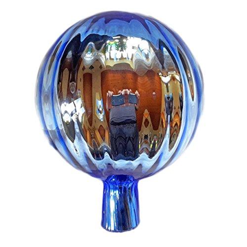 Naturholz-Schreinermeister XL Rosenkugel Hellblau Rillenoptik Höhe 21cm Durchmesser 15cm Rosenkugeln Gartenkugel Handarbeit stabieles Glas verspiegelt und wetterfest (Hellblau)