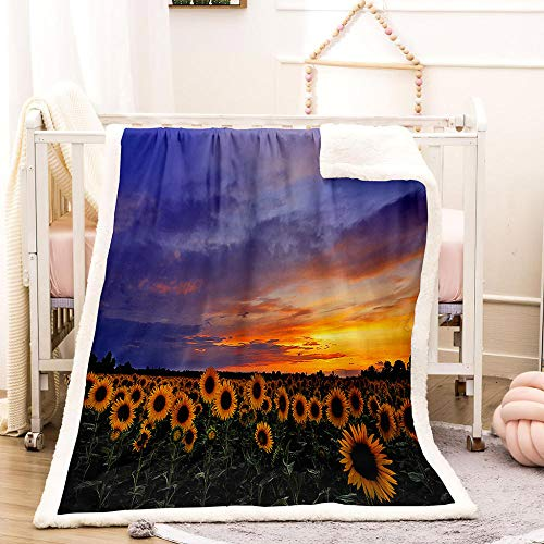 HYQDD Flannel Blanket 3D Sunflower-150x200cm Blanket for Kids Child Adults Soft Plush Bedding Sofa Couch Throw Blanket Cozy Home Decor Blankets Office Blanket Nap Blanket