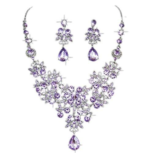 Damen Ohrringe Schmuck Ohrstecker stecker DAY.LIN Prom Hochzeit Brautschmuck Kristall Strass Halskette Ohrring Sets (Lila)
