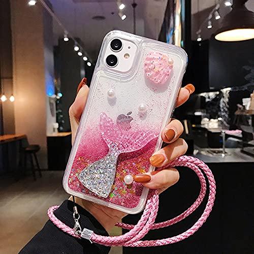 DEIOKL Estuche para teléfono 3D Glitter Quicksand para Samsung Galaxy A10S A20E A30S A50 A70 A11 A21S A31 A51 A71 A81 A91 A6 A8 A7 A9 2018, con Correa Rosa, para Galaxy A8 Plus 2018