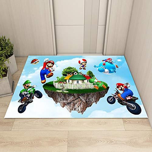 GOOCO Alfombra De Dibujos 3D Super Mario Alfombra de Aula Dormitorio área de Regalos para niños para jardín de Infancia, New Mario Bros