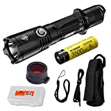 NITECORE MH25GTS 1800 Lumen Rechargeable Tactical Flashlight with Battery, Night Vision Preserving Red Filter and LumenTac Battery Organizer