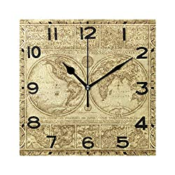 Naanle Old World Map Print Square Wall Clock Decorative, 8 Inch Battery Operated Quartz Analog Quiet Desk Clock for Home,Office,School