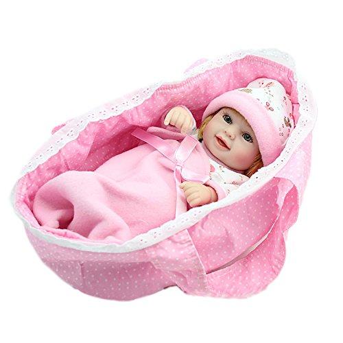 Nicery Reborn Baby Reborn Bambino Reborn Bambola Disco in Vinile Silicone 11inch 28 Centimetri Impermeabile Giocattolo Regalo della Ragazza Bianco Rosa Sleeping Carrello Reborn Doll A3IT