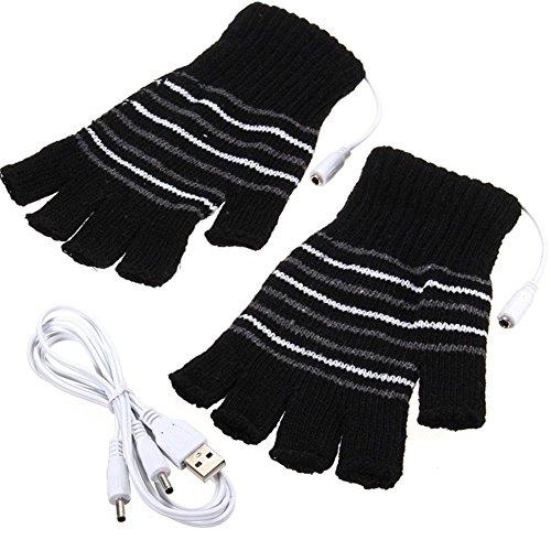 Mengqiy USB Heated Gloves Winter Half Fingers USB Heating Warm Gloves