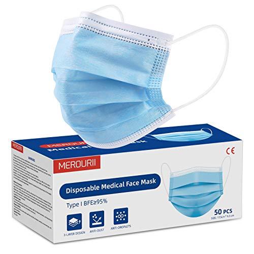 50 Stück Medizinische Gesichtsmaske, 3-lagig, Medizinische Schutzmaske Mit Ohrringe, Schutzmasken Atmungsaktiv