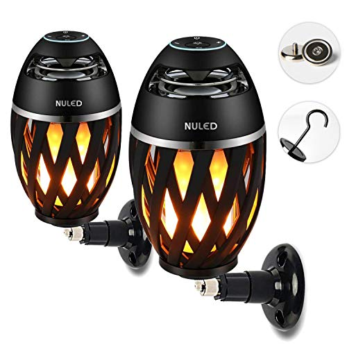 Portable Audio Tiki Torch Wall Mount Kit/Magnetic Base/Hook Incl. IP65 Waterproof NULED Flame Bluetooth Speaker w. Warm Yellow LED Flickers Atmosphere Indoor/Outdoor Table Lamp Powerful Stereo Sound