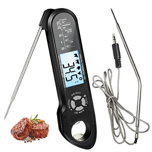 Termómetro Carne Digital Aceshop Termómetro Digital de Cocina con Pantalla LCD Termometro Horno de Lectura Instantánea con Sonda Doble y Cable Largo para Barbacoa Parrilla Horno Petróleo Carne Comida