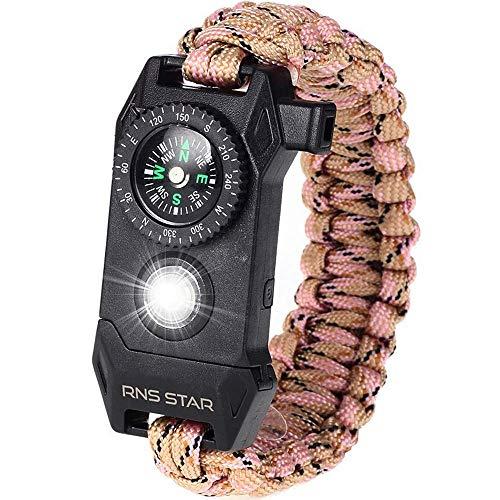 RNS STAR Paracord Survival Bracelet 6-in-1 - Hiking Gear Traveling Camping Gear Kit - 70% Bigger Compass LED SOS Emergency Function Flashlight,Fire Scrapper,Flint Fire Starter,Survival Knife (Camo_1)