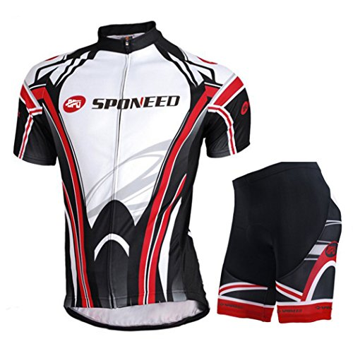 Cycling Jersey Set Bike Shorts Padded Gel Pants Indoor Ourdoor Riding Suit US M White Red