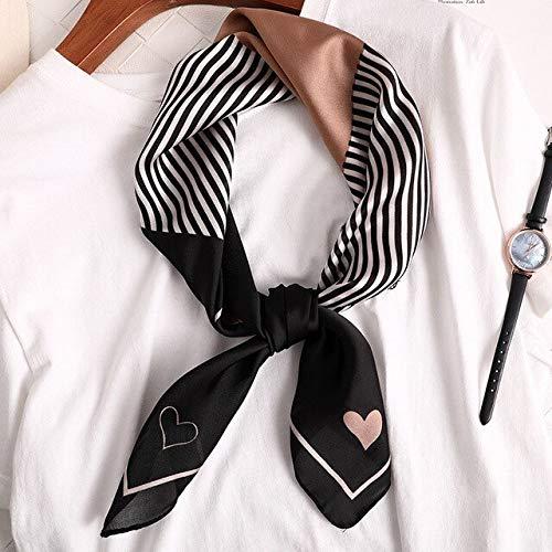 YDMZMS 70 * 70cm Vrouwen Zijde als Vierkante Streep Print Sjaal Halsdoek Mode Hoofddoek Vrouwen Sjaal Haarband Handvat Lint zwart