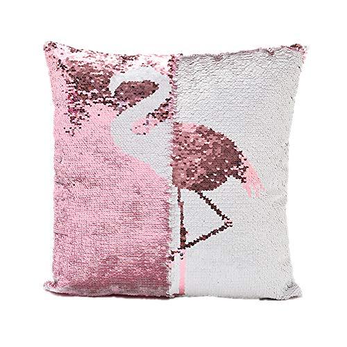 Funda de cojín de flamenco reversible de doble color, diseño de sirena, almohada lumbar, con purpurina, 40 x 40 cm (Flamingo)