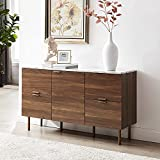 GOOD & GRACIOUS Sideboard Cabinet, Mid Century Modern Console Storage Buffet Credenza Cabinet, Faux Marble Top with 4 Drawers and 1 Door for Living Room, Kitchen, Ding Room or Entryway, 48', Walnut