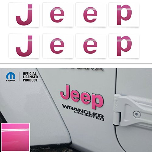 Reflective Concepts JEEP Fender Emblem Overlay Decal Stickers - 2018 2019 2020 Wrangler JL - (Color: Hot Pink)