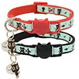 Barleygoo 2 Pack Glow in The Dark Cat Collar with Bell Breakaway Safety Cat Puppy Collars with Pendant Black and Red