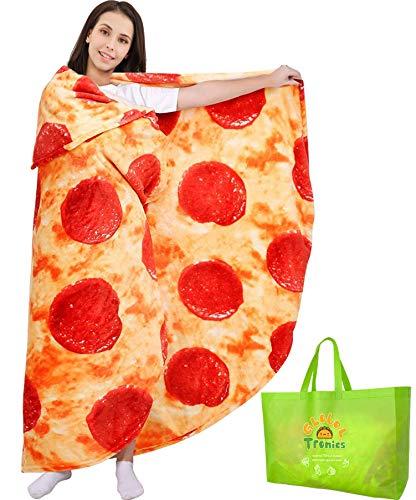 Manta Pizza 150cm Doble Cara, Redonda de Novedad Gigante Pepperoni Cobija Franela Suave y Acogedora Comida Realista Toalla de Felpa Regalos Creativos para Niños Adultos Familia (Pizza, 150cm)