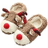 UNiiyi Zapatillas de Interior de Felpa de Reno Encantador navideño para Mujeres y niñas, Zapatillas de casa de Felpa Suave con Forro Polar cálido de Animales Bonitos