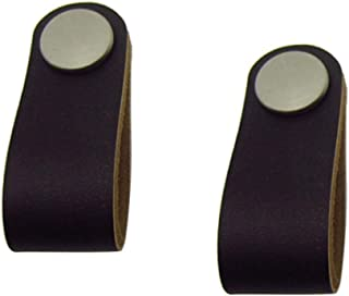 2pcs Handmade Artificial Leather CabinetDoorKnobsPull Handle knobs with Screws (Black-S)