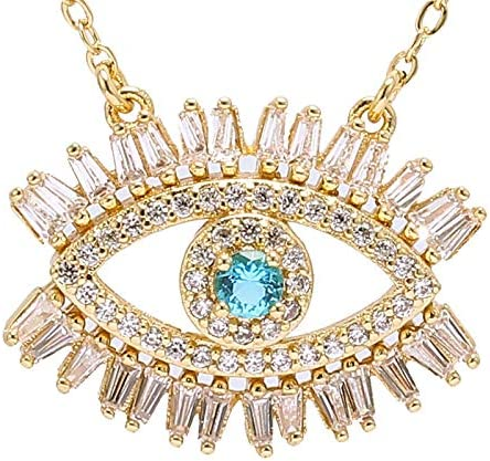 SWAOOS Gold Cubic Zirconia Necklaces Luxury Evil Eye Chain Necklaces for Women Cz Turquoises Stone Necklace Collares Jewelry
