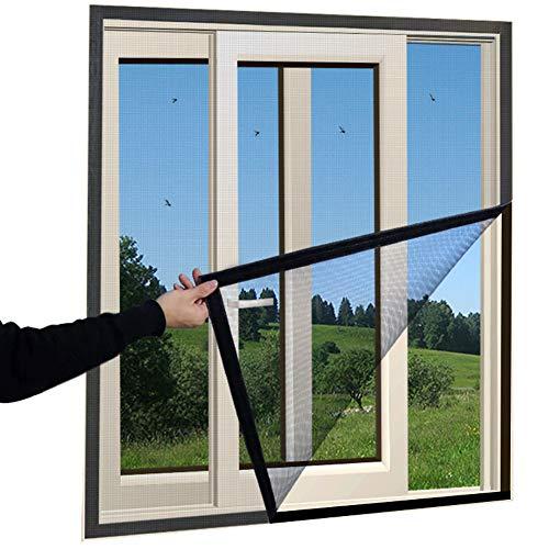 HTDG Vliegengaas, insectenwerende ramen, klittenband, vliegengaas, om te openen, groot raam, insectenbescherming, zonder boren
