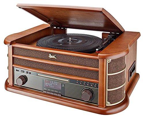 Dual NR 50 DAB Stereo-Nostalgie-Komplettanlage mit Plattenspieler (UKW/DAB(+) Radio, CD (MP3), USB, Kassettenabspieler, AUX-In, Direct-Encoding-Funktion, Fernbedienung) Braun