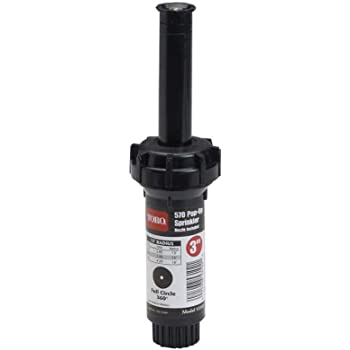 Toro 53816 3-Inch Pop-Up Fixed-Spray with Nozzle Sprinkler, 180-Degree, 15-Feet