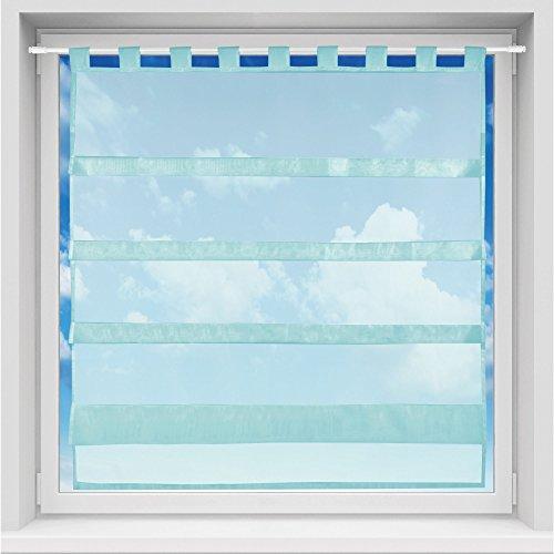Bistrogardine in transparent mit Raffoptik, einfarbige und lichtdurchlässige Voile-Scheibengardine mit Schlaufe, in vielen Größen verfügbar (100 x 110 cm/türkis - Petrol)