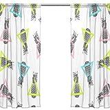 Orediy Vorhang aus Voile, durchscheinend, 2 Paneele, dreieckige Ananas, 40 % Verdunkelungsstange, lange Gardine, Fensterbehandlung, Schlafzimmer, Wohnzimmer, 2* 140W x 213 H