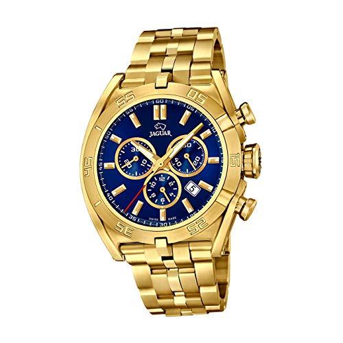 JAGUAR Reloj Modelo J853/3 de la colección Executive, Caja de 45,8 mm Azul con Correa de Acero Chapado para Caballero